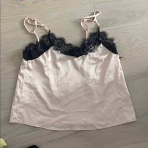Silky lingerie sleep top with black lace